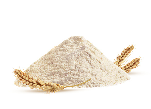 wheat flour and wheat bars on a white background