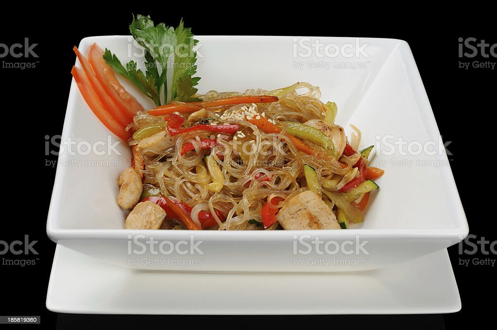 Wheat flour noodle (udon) with pork royalty-free stock photo