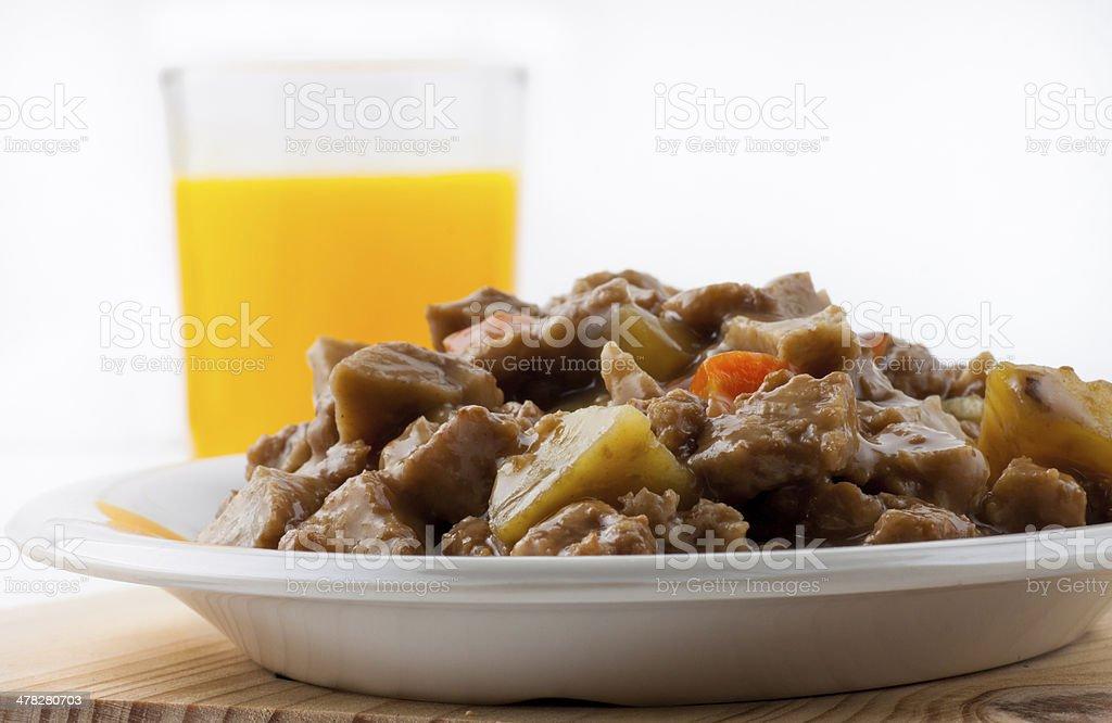 Wheat gluten food with juice stock photo