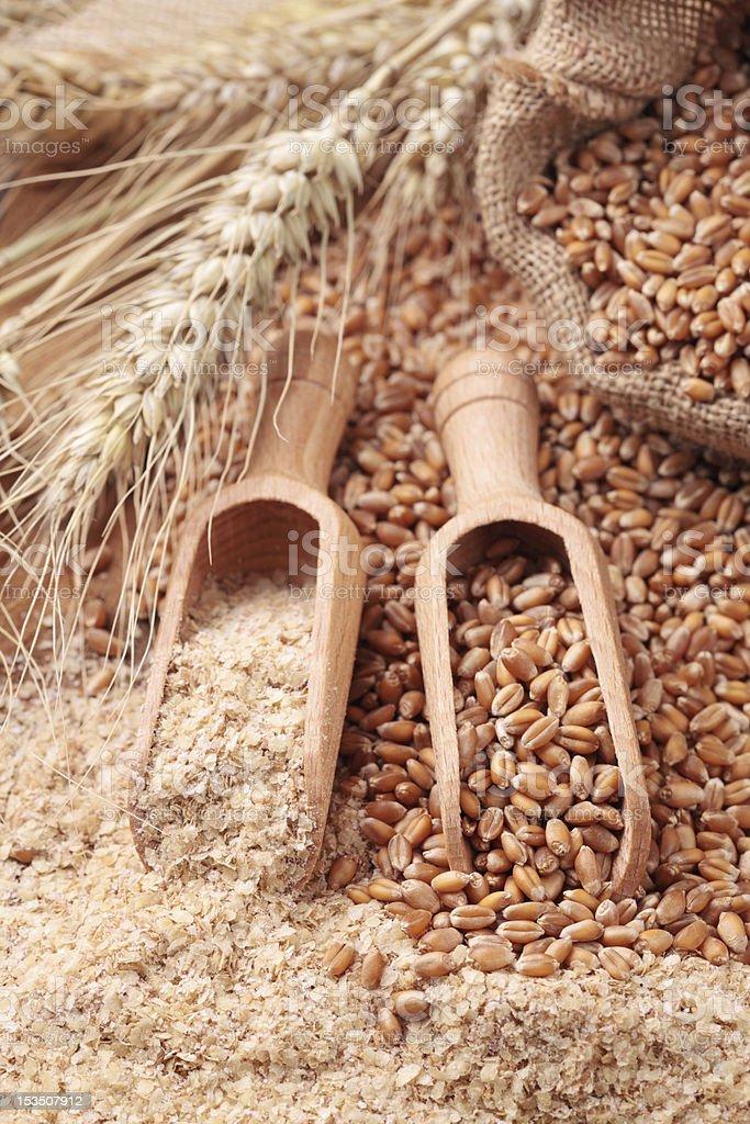 Wheat grains and bran stock photo