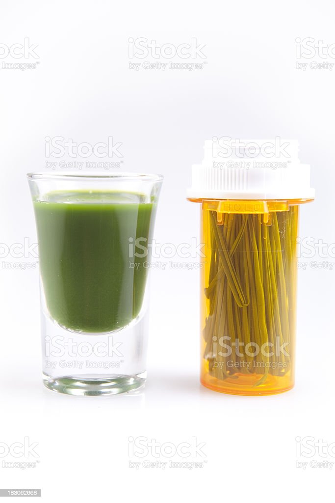 Wheat Grass Juice Used As Medicine stock photo