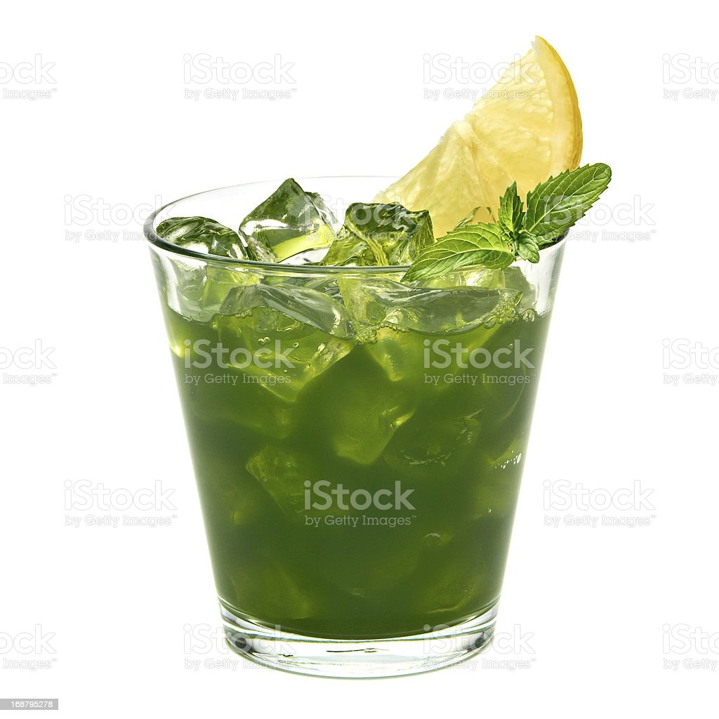 Wheat grass juice with ice mint and lemon stock photo