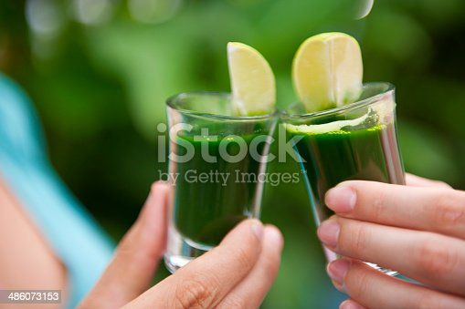Photograph of two female hands holding two shots of wheatgrass with lime and cheering