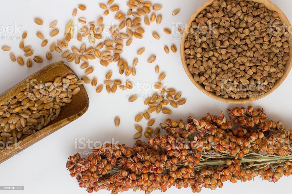 Wheat in wooden spoon, branch sorgo and buckwheat on white stock photo