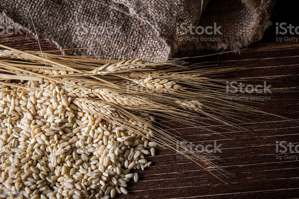 wheat, spike, cereal on wood table. stock photo