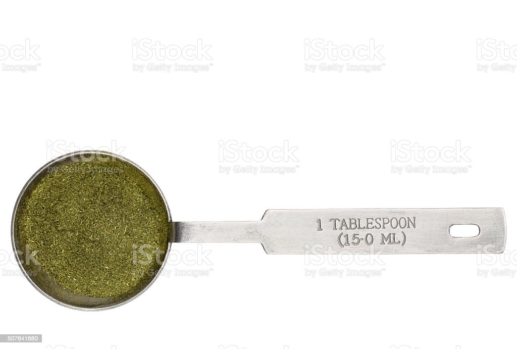 wheatgrass powder in a tablespoon stock photo