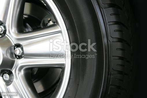 Detail of a new tire and rim