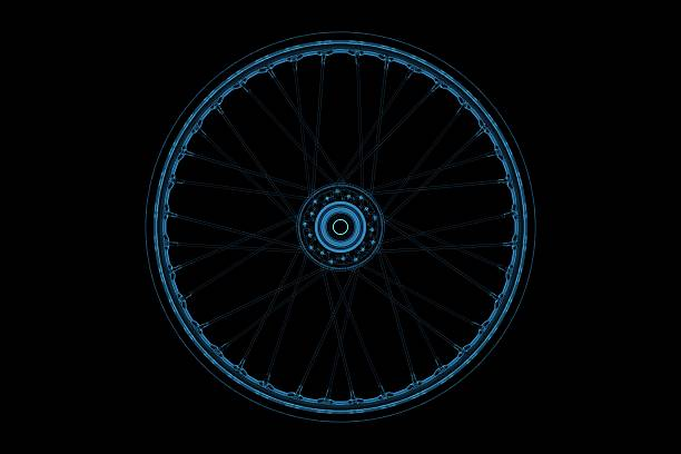 wheel 3d xray blue transparent - wheel black background bildbanksfoton och bilder
