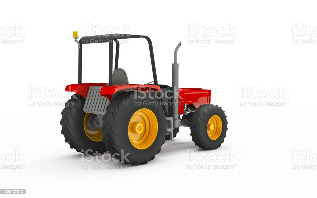 Wheel agricultural tracktor isolated on white background. 3D illustration. Rear view stock photo
