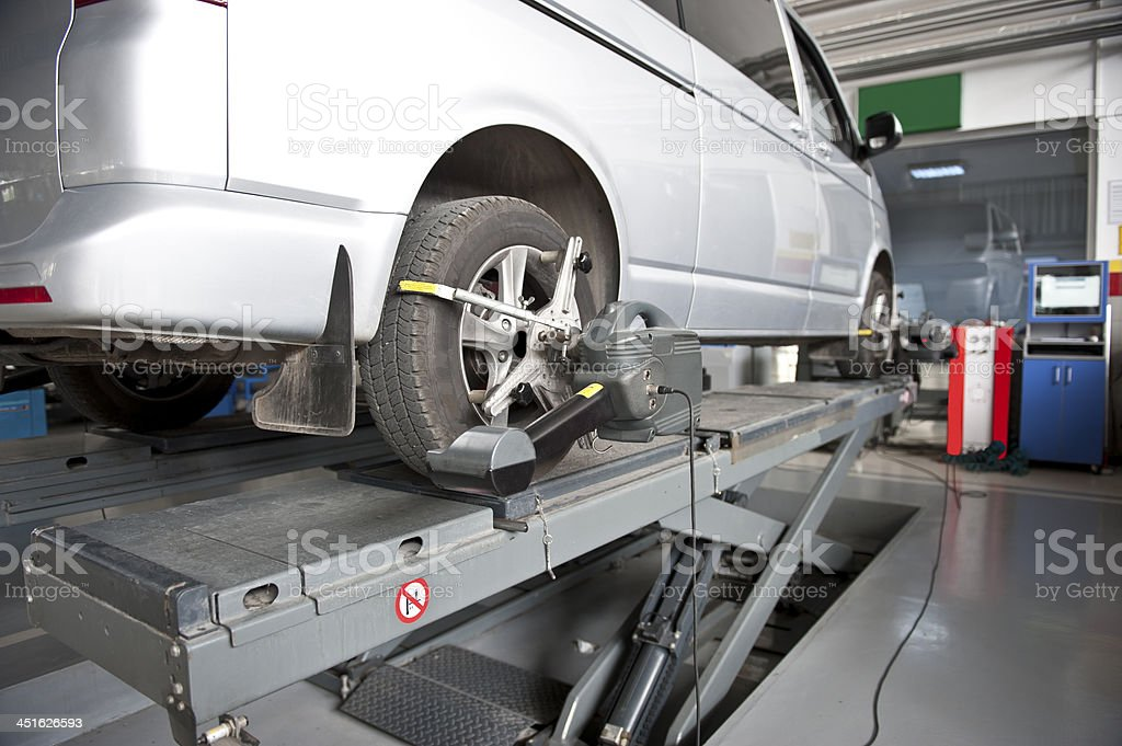 wheel alignment and balancing stock photo