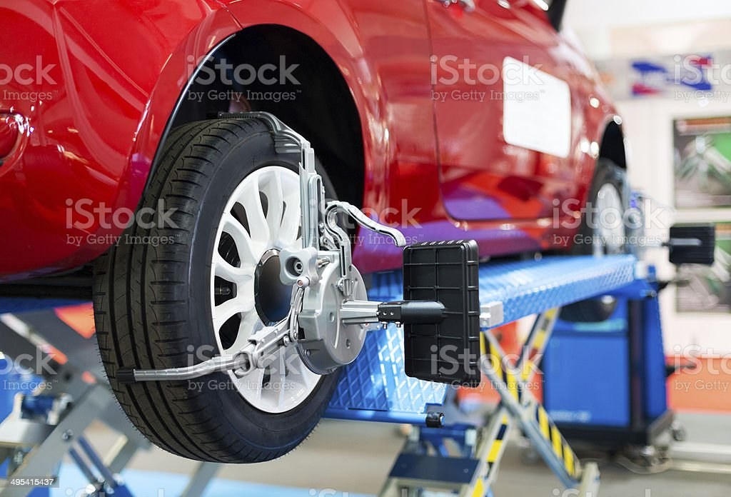Wheel alignment stock photo