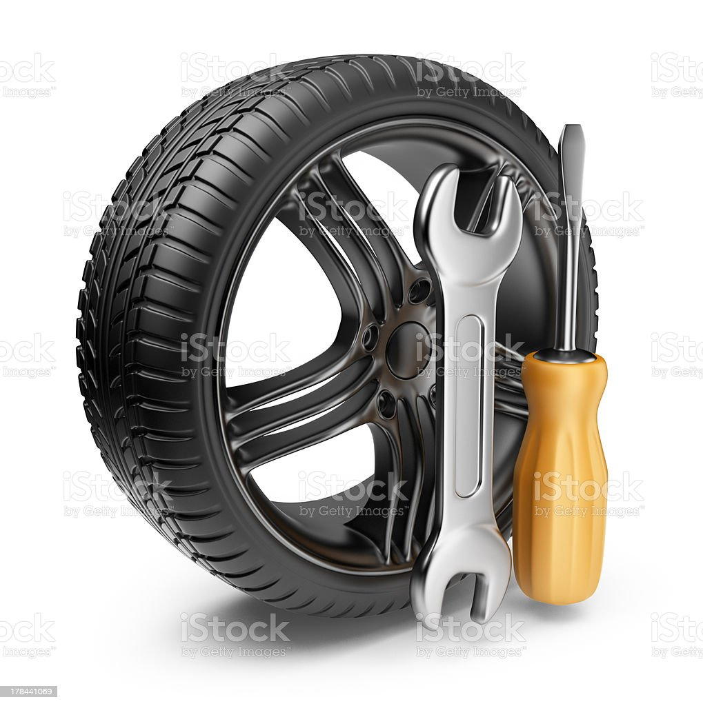 Wheel and tools. Car service. 3D Icon isolated stock photo