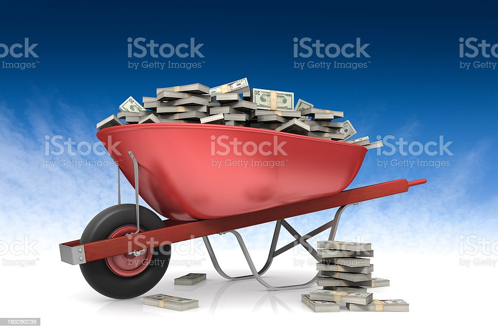 Wheel barrow full of money Wheel barrow full of money isolated on a blue sky background.Could be a useful element in a contest prize design.This is a detailed 3d rendering. Blue Stock Photo