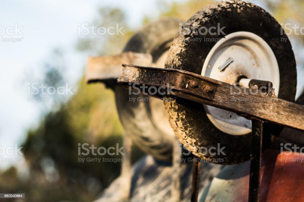 Wheel Barrow Wheels royalty-free stock photo
