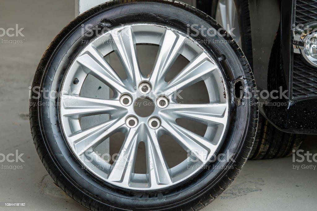 Wheel broken ,Tire burst ,broken tire stock photo