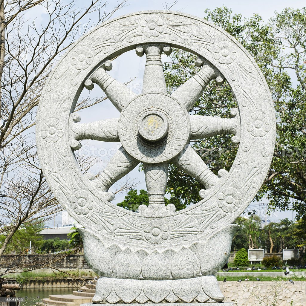 wheel Buddhism in thailand temple stock photo