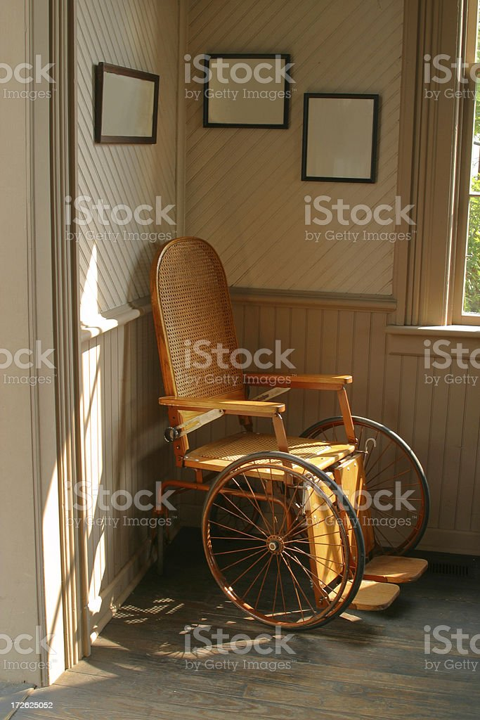 Wheel Chair In the Corner stock photo