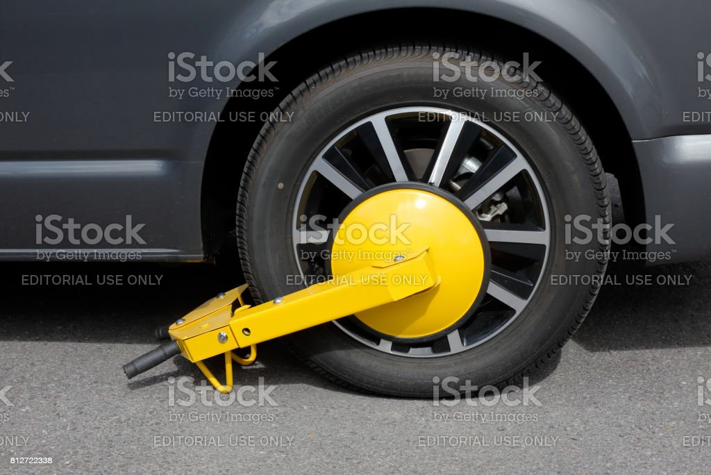 Wheel clamp attached stock photo