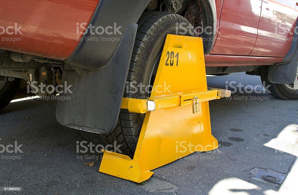 Wheel clamp stock photo