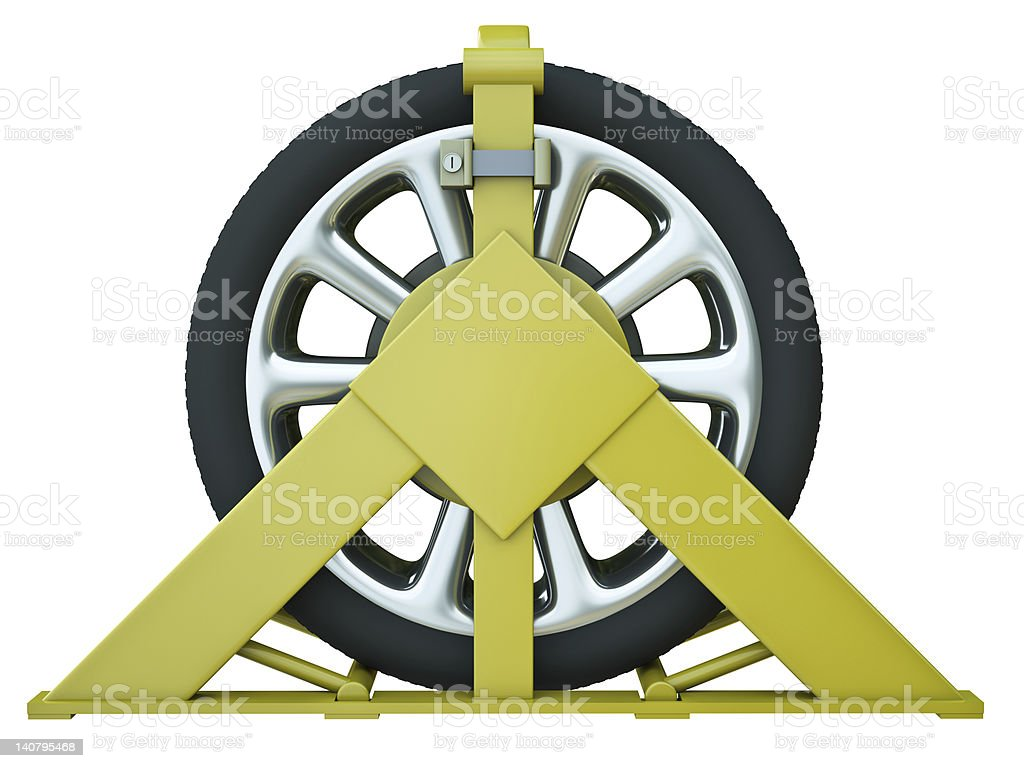 Wheel clamp with car wheel on a white background stock photo