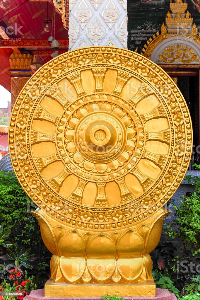 Wheel dhamma of buddhism stock photo