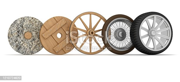 Wheel evolution. Digitally Generated Image isolated on white background
