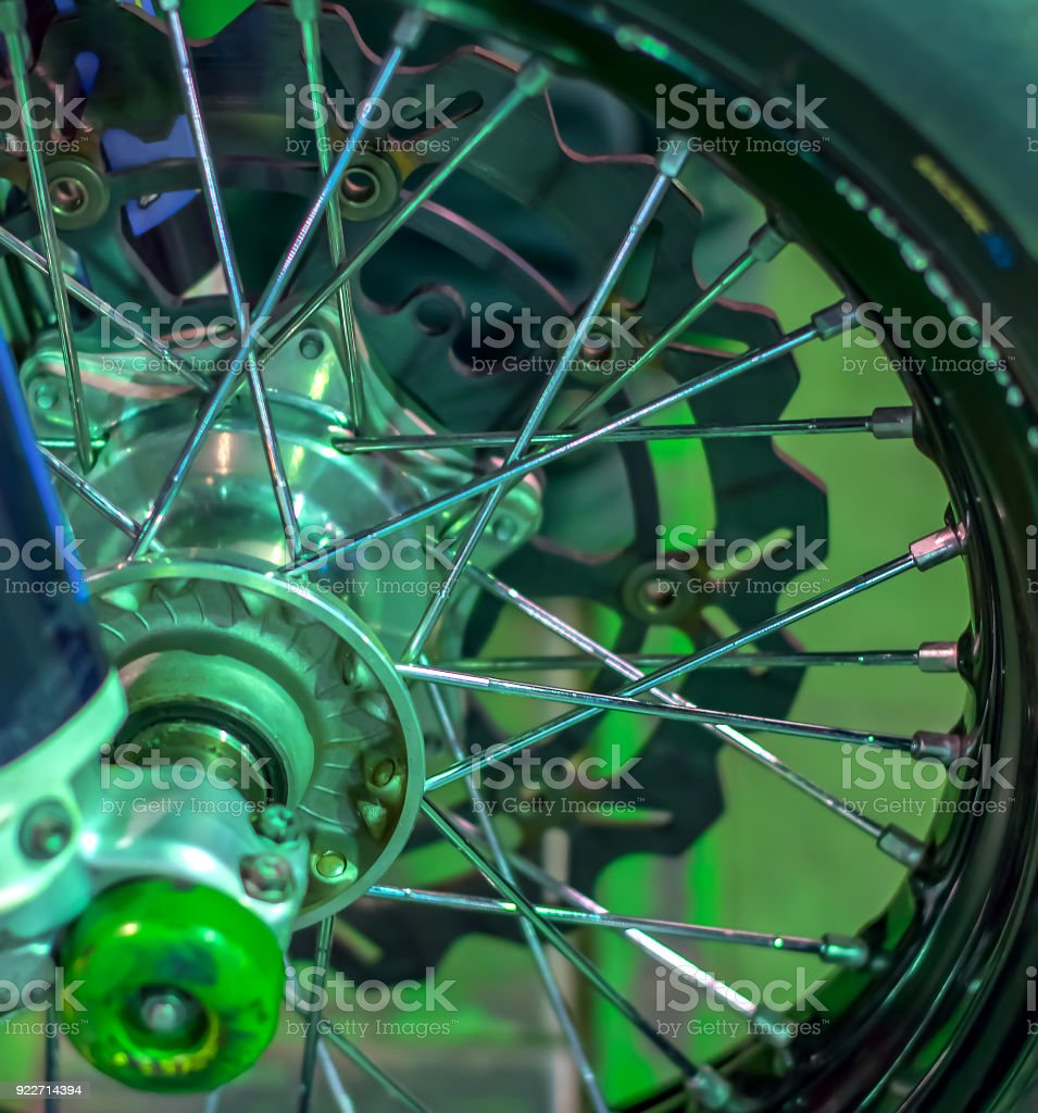 wheel from cross-country sports bike for the track motocross Speedway stock photo