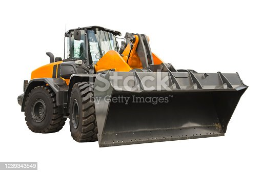 Wheel loader isolated on a white background