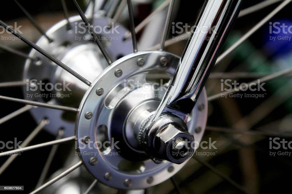wheel hub on a bicycle stock photo
