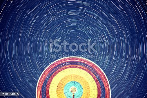 A ferris wheel turns under a canopy of spinning stars. Long exposure, composite image.
