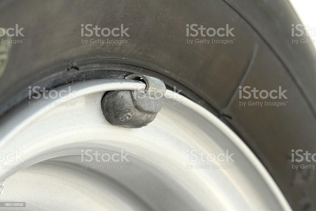 Wheel lead weight balancing stock photo