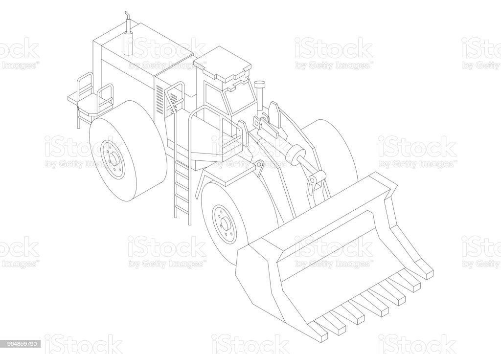 wheel loader Architect blueprint - isolated royalty-free stock photo