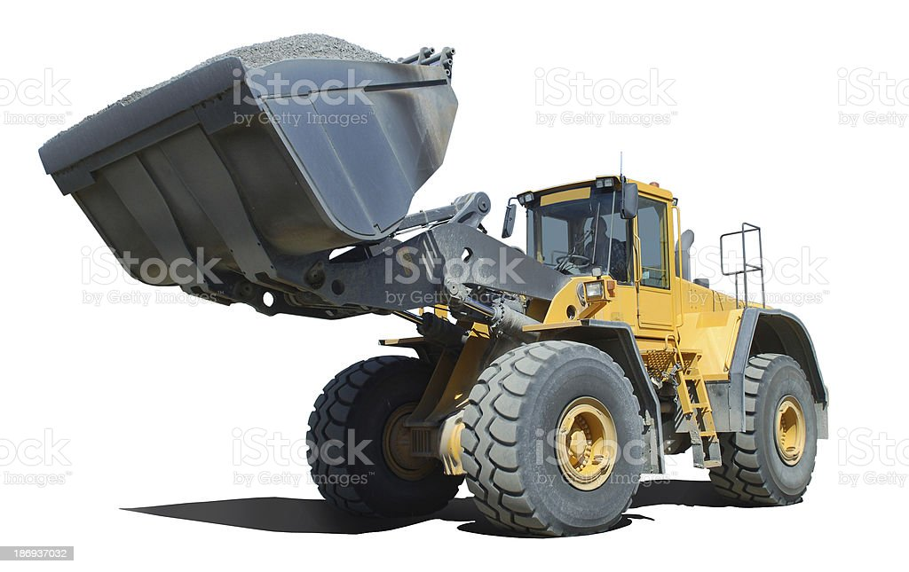 Wheel loader at work stock photo