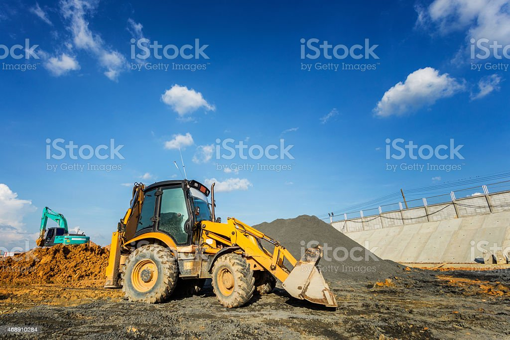 Wheel loader excavator machine stock photo