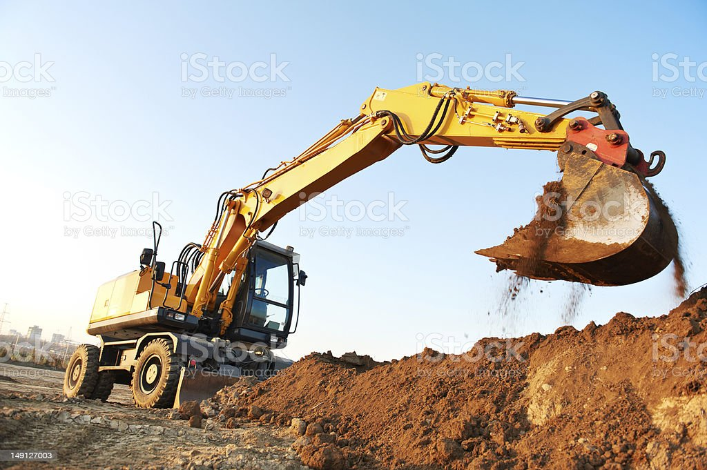wheel loader excavator stock photo