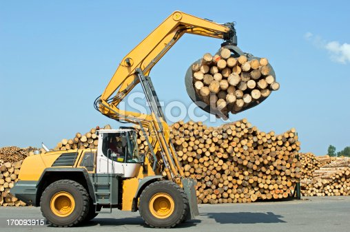 Wheel loader loading timber in saw mill.