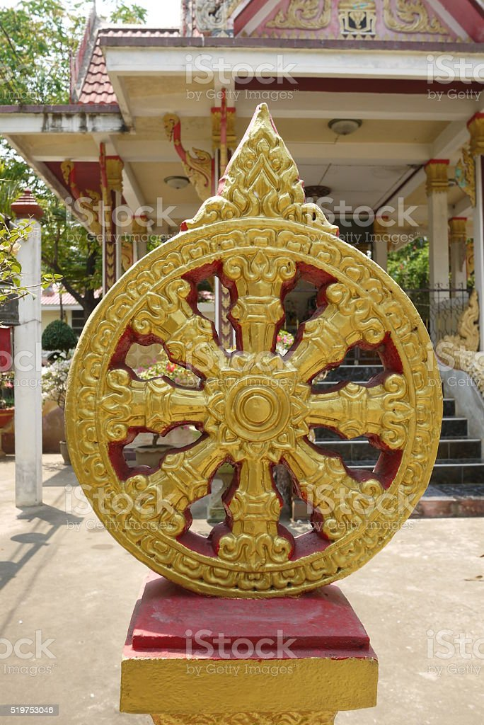 Wheel of Dharma. stock photo