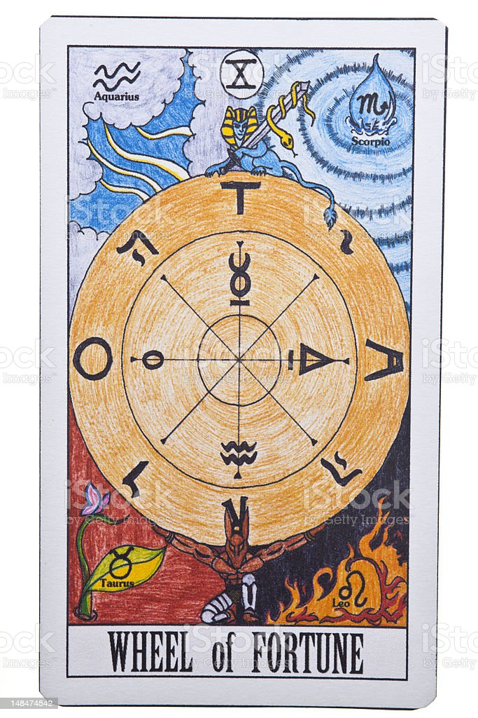 Wheel Of Fortune Tarot Card On Isolate Background Stock