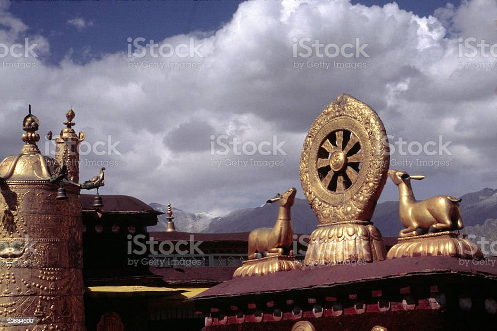Wheel of Life Atop Jokhang temple, Lhasa, Tibet stock photo