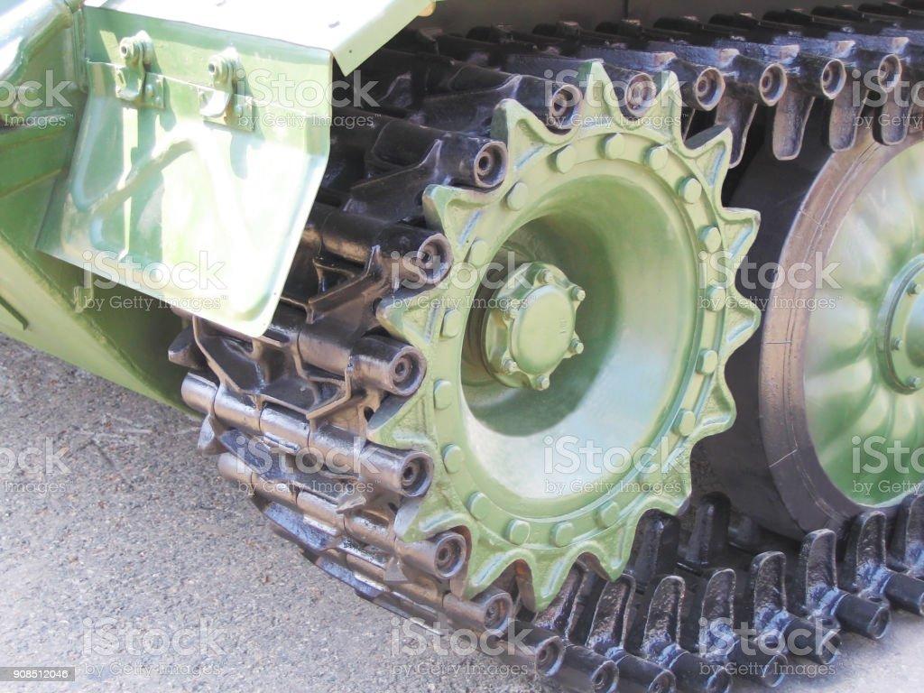 Wheel of military equipment. stock photo