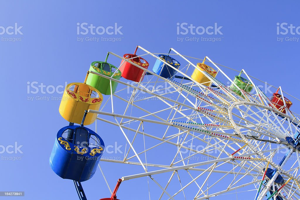 Wheel of review in the park on blue sky background royalty-free stock photo