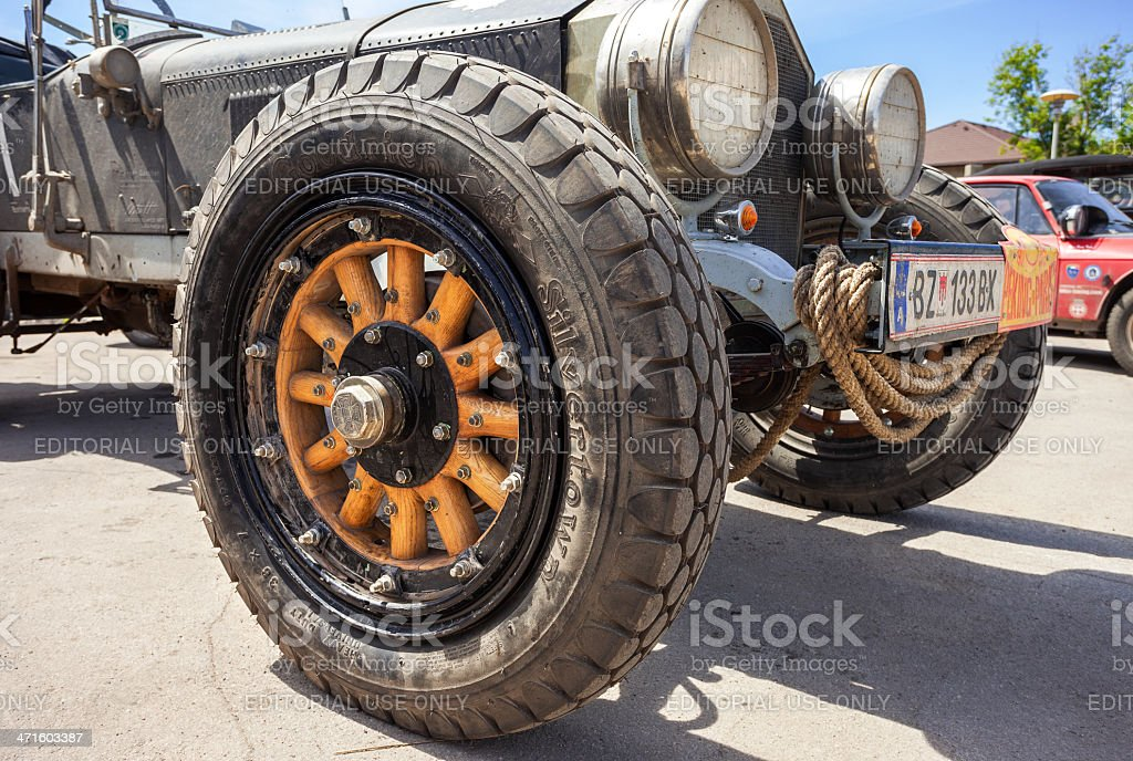 Wheel of the retro car La France Tourer 1917 year royalty-free stock photo
