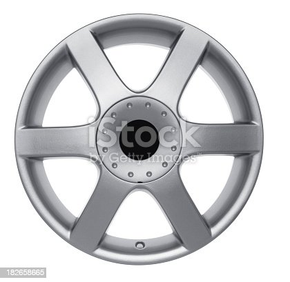 Car wheel against white background