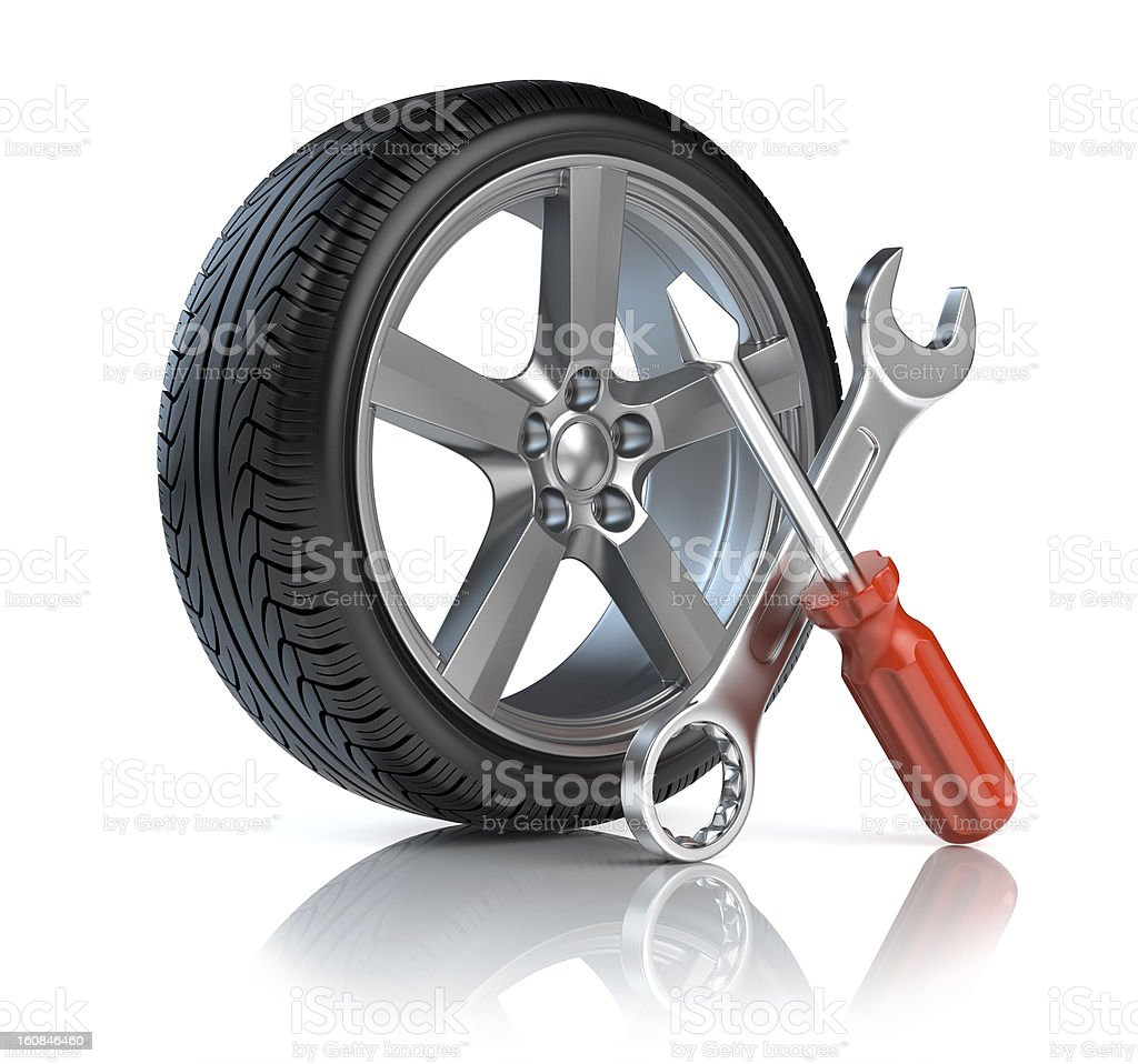 Wheel repair royalty-free stock photo