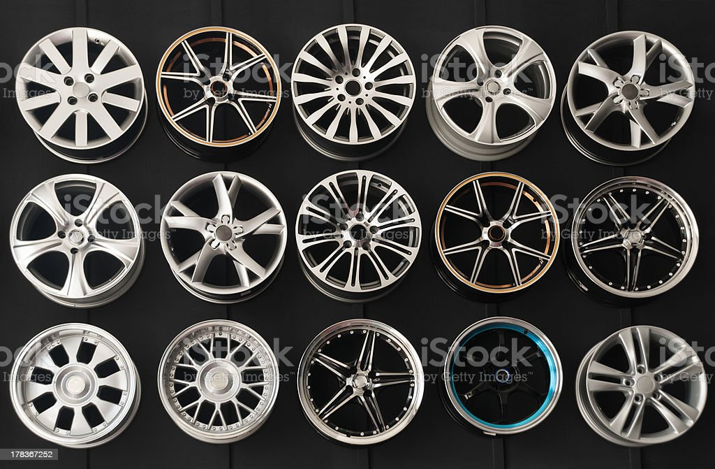 Wheel Rims on wall stock photo