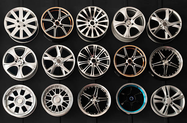 Wheel Rims on wall stock photo