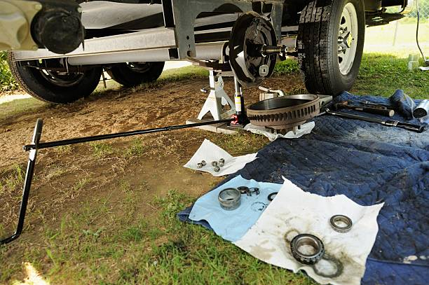 Wheel service on recreational vehicle stock photo