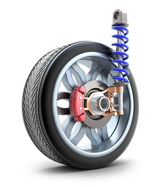 roue, amortisseur et plaquettes de frein - disque de frein photos et images de collection