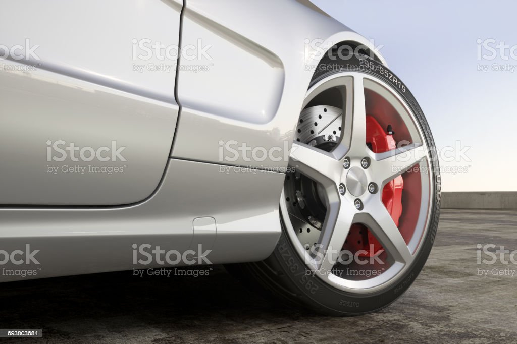 Wheel sports car close-up outdoor stock photo