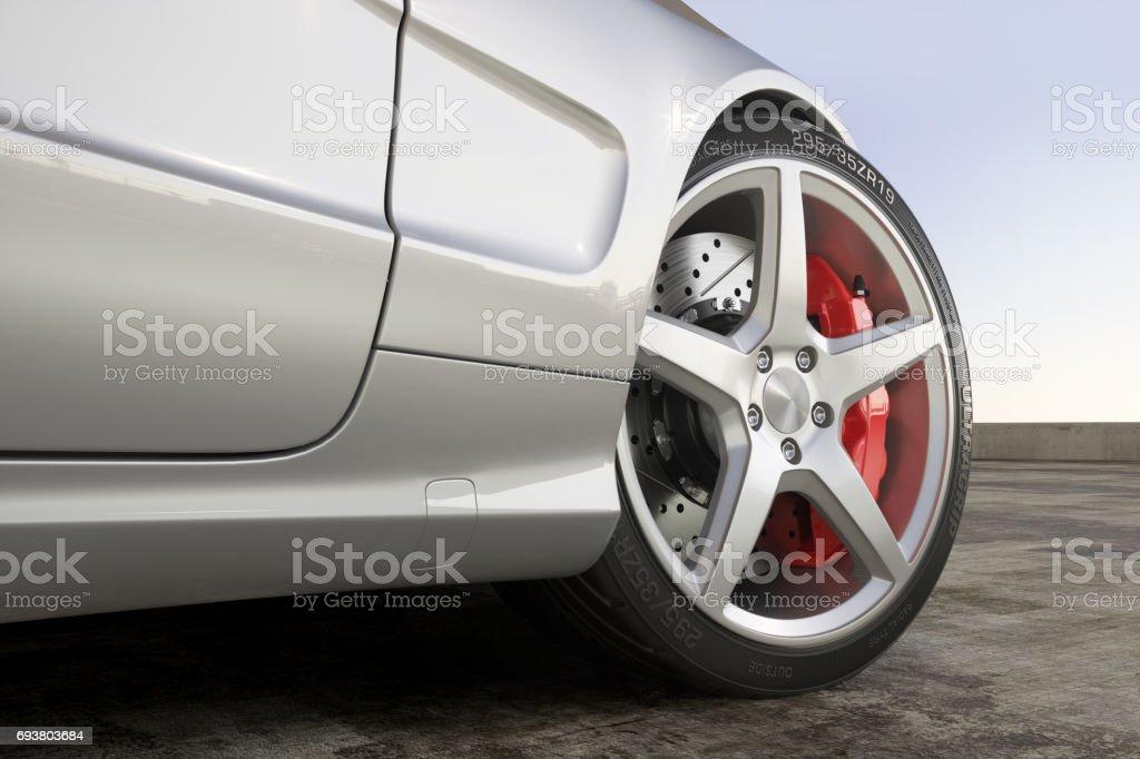 Wheel sports car close-up outdoor stock photo